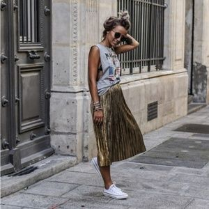 Rare- Zara Woman Gold Pleated Midi Skirt